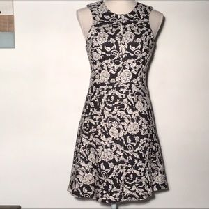 Esley Collection midi dress black floral texture S